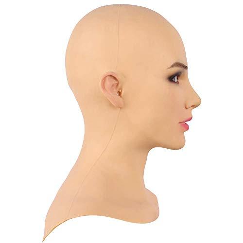 SDMJ Crossdresser Realistische weibliche Kopfmaske weichen Silikon Transvestit handgemachtes Gesicht für Transgender Cosplay Drag Queen Halloween (Haut Maske Halloween)