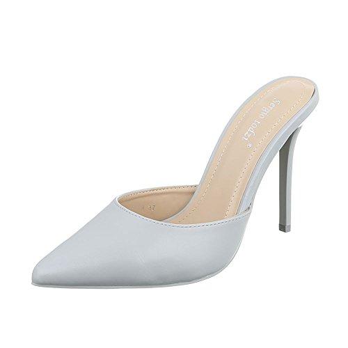 High Heel Damenschuhe Plateau Pfennig-/Stilettoabsatz High Heels Ital-Design Pumps Hellgrau