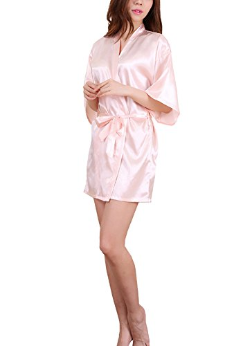 DELEY Mujeres Kimono Satén Seda Color Puro Albornoz Peignoir Bata Ropa de Dormir Vestido Camisón Albornoces...
