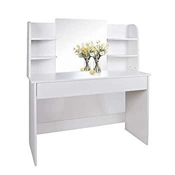 Huisen Furniture Modern Makeup Vanity Table Tri Flip Mirror Dressing Table with Drawers and Stool Set Princess Bedroom Simple Fancy Dressing Table (White: type 2)