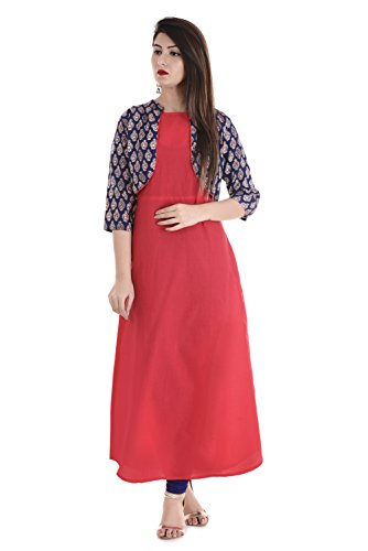 Belizzi Woman's Pink Cottan Inner With Jacket Style (Pink_kurti_Long_size) (M)