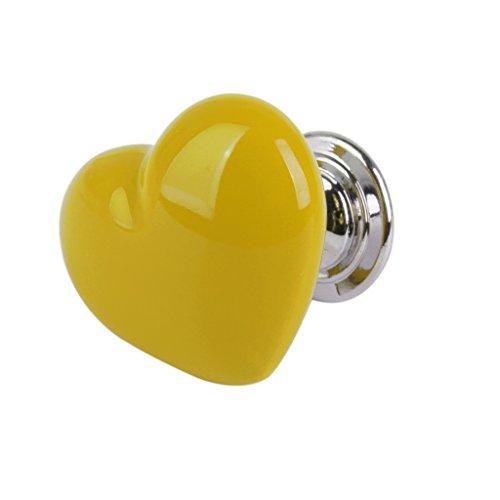 F fityle manopole in ceramica, maniglie di ornamento a forma di cuore per porte mobili decorazione - 6 colori per scegliere - giallo, l