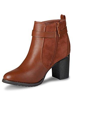 Frau Riemen Stiefel mit schwarzen oder braunen goldenen Schnalle Braun