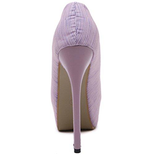 Oasap Women's Peep Toe Bow Platform High Heels Slip-on Pumps purple