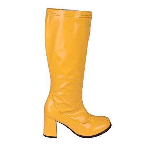 Knie Stiefel Kostüm Hohe Weiße - Kick Footwear Damen Knie Hoch Hoch Block Ferse Lange Stiefel - UK 4/EU 37, Gelb