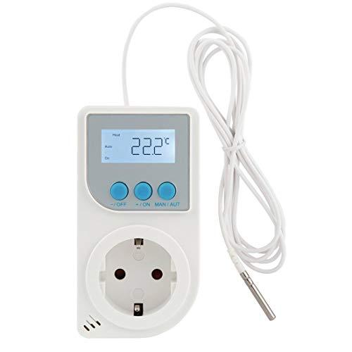 """Xavax Universal Thermostat mit Fühler \""""Premium\"""" (Steckerthermostat für Kühl-/Heizgeräte, z.B. Infrarot-Heizung, Terrarium, digitaler Temperaturregler) Steckdosen-Thermostat"""