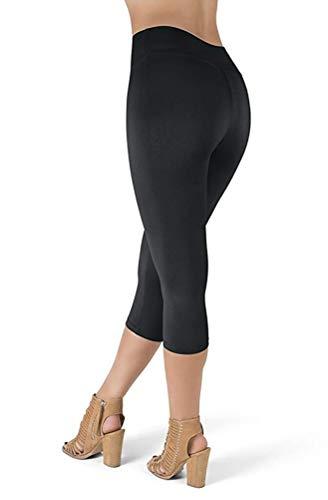 Hohe Taille Capri Leggings Frauen - Gym Cropped Leggings Damen Strumpfhosen Hosen Superweiche Ganzkörperansicht Blickdicht Schlank Einheitsgröße und Übergröße (Plus Size, Schwarz) - Plus Size Capri-leggings