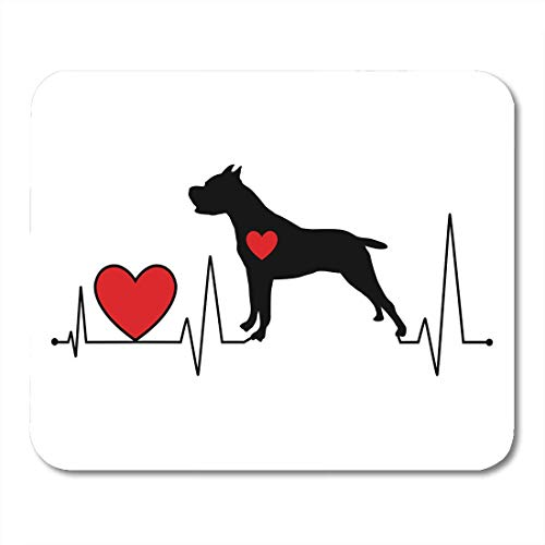 AOHOT Mauspads Red Abstract Pit Bull Silhouette Heartbeat Line for Cutting Vinyl Decal Adult Mouse pad 9.5