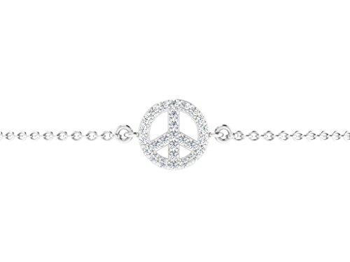 Or Blanc 9 ct Bracelet Diamant en forme de rond, 0.14 Ct Diamant, GH-SI, 1.1 grammes.