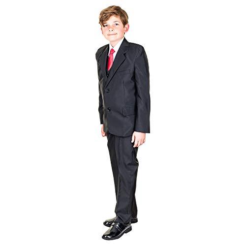 Hei Mei 5tlg. Jungen Fest Anzug Kommunionsanzug Smoking Kinderanzug für viele Festliche Anlässe M133sw Schwarz 14/146 / 152