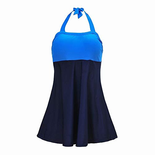 Anglayif Plus Dünger Plus Dalian Körper Badeanzug Farbabstimmung Bikini Badeanzug Mit Hoher Taille Damen Tube Top Bikini (Color : N8684-sky Blue, Size : XXL) -