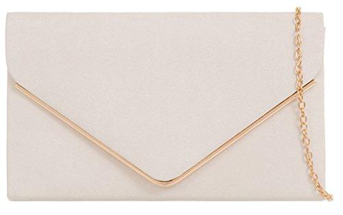 Donne Faux Suede frizione borsa busta Metallic Frame Plain Design avorio