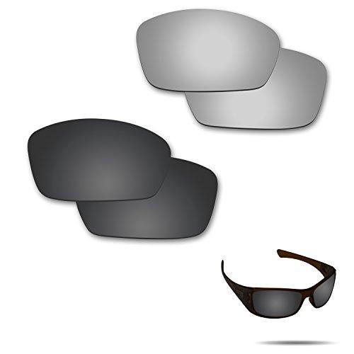 fiskr anti-saltwater Polarisierte Ersatz Gläser für Oakley Hijinx Sonnenbrille 2Paar verpackt, Stealth Black & Metallic Silver