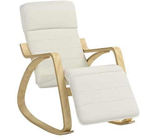 SoBuy FST16-W Fauteuil à Bascule Avec Repose-pied Réglable Design Rocking Chair Fauteuil Relax Bouleau Flexible (Beige)