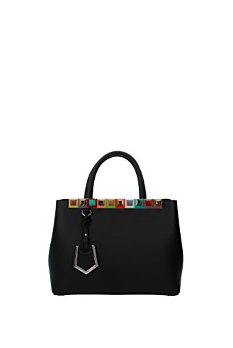 Fendi Leder Handtasche Damen Tasche Bag petite 2jours Schwarz