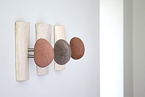 Unique and natural white stained oak wood Towel holders - Coat Rack with natural Stone. Bathroom towel hook. Wall mounted solid wood coat rack with natural Sea Stones. Home office wall organizer, entryway organizer, Appendiabiti
