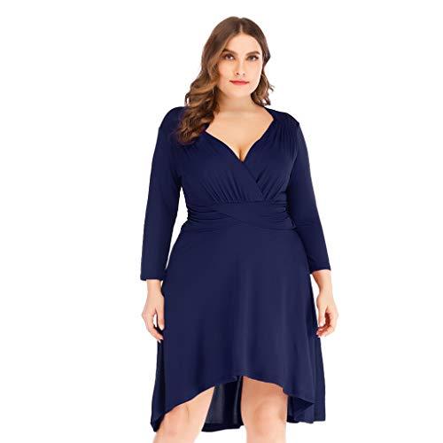 Frauen-Geschäfts-Retro feste elastische lange Hülsen-Kleid-V-Ansatz feste Cocktailparty-Kleider -