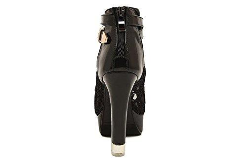 Wealsex Sandales Escarpins Dentelle Boucle Femme Talons Haute Bloc Plateforme Bout Ouvert Grande Taille 40 41 42 Noir