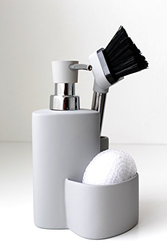 Premium Design Ceramic Kitchen Dishwashing Set Soap Dispenser Sponge Scrubby Dish Brush Caddy Organizer Set