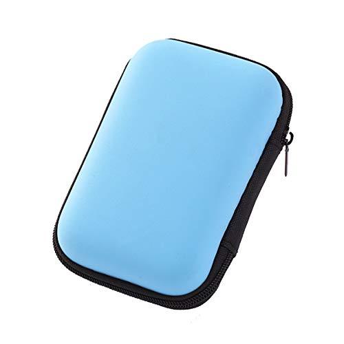 Winice Tragbarer Tragekoffer für Kopfhörer, Small Protective Storage Holder Box-Tasche für Kopfhörer, Ohrhörer, USB-Sticks, Kabel - Blau - Ladegerät Ipod Blau Kabel