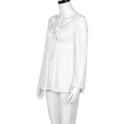 T-Shirt, Yogogo Reizvolle Frauen lösen lange Hülsen-beiläufige Oberseiten-Bluse Weiß