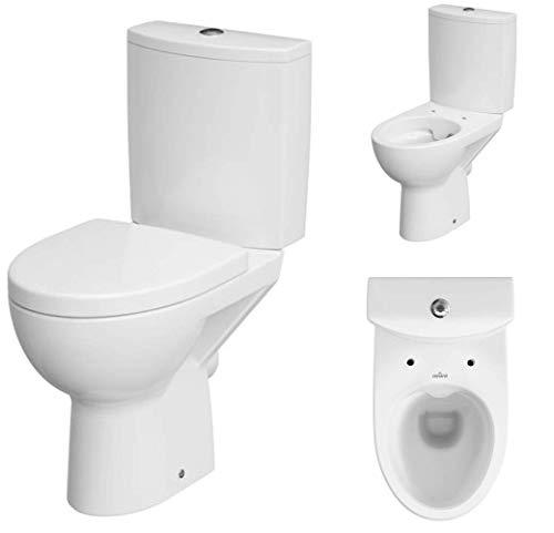 VBChome Keramik Stand- WC Toilette Komplett -Design- Set mit Spülkasten WC- Sitz aus Duroplast mit Absenkautomatik SoftClose-Funktion für waagerechten Abgang Wasseranschluss Spülrandlos