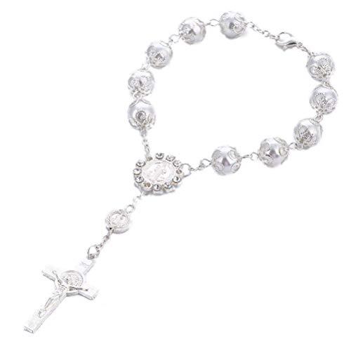 NUOBESTY 6 Stücke Kreuz Armband Neugeborenes Baby Taufe Geschenke Andenken für die Babyparty (Silbrig)