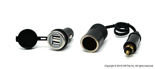Cliff-Top® HELLA (DIN) zu Standard Zigarettenanzünder Adapter + 2,2 AMP Dual USB Ladegerät