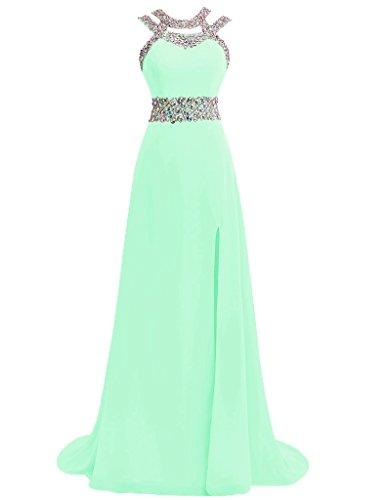 JAEDEN Damen Chiffon Neckholder Ballkleider Lang Abendkleider Festkleid Formales Kleid Minze (Kleid Neckholder Monroe Marilyn)