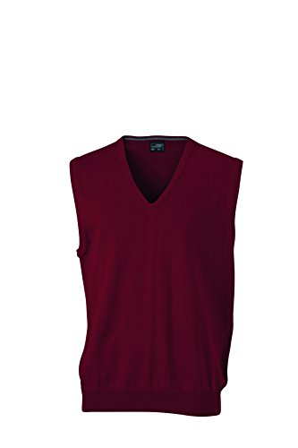 James & Nicholson Herren V-Neck Pullunder Rot (Bordeaux), Large