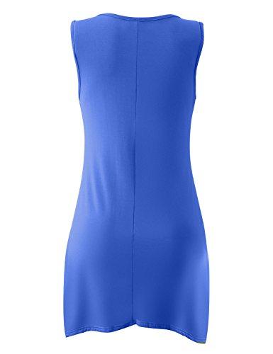 Yidarton Damen Sommerkleid Ärmelloses Asymmetrisch Tank Kleid Beiläufiges  Strandkleid Ausgestelltes Trägerkleid Knielang Blau ...