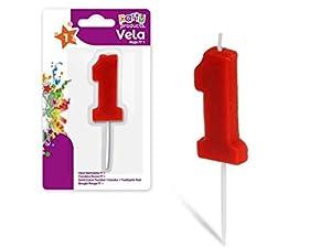 Party Vela de cumpleaños numero 1, 5 x 3.5 cm Color rojo 68025