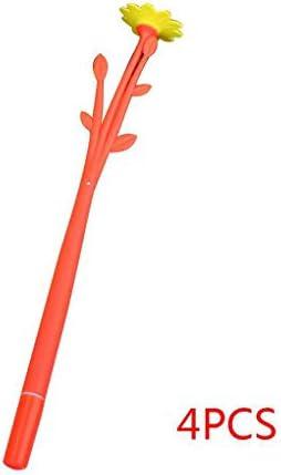 Lorjoy 4pcs 0.38mm Cartoon Flower Pen Souple en Silicone Signature Pen Couleur Noir | Le Roi De La Quantité