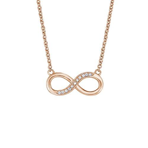 NOELANI Damen-Halskette mit Infinity-Anhänger rosévergoldet mit Kristallen von Swarovski