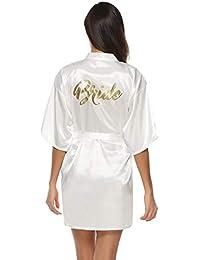 73c47f1ae0 Abollria Robes de Chambre et Kimonos Robes de Mariée Femme Peignoir Satin  Robes de Chambre Couleur
