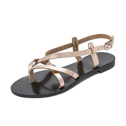 Schmick sandali artemis: scarpe estive donna eleganti bassi gladiatore cuoio fatti a mano, rose oro/nero, 40 eu