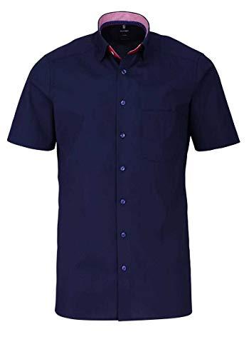 OLYMP Luxor modern fit Hemd Halbarm Popeline Nachtblau Größe 43 -
