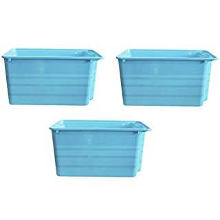 e2e Stackable Rectangular Nesting Plastic Storage Toy Box Boxes Room Tidy (Set of 3 Blue)