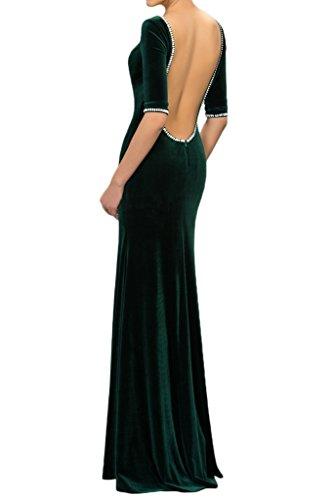Promgirl House Damen Edel Samt Mermaid Abendkleider Cocktail Party Hochzeits Ballkleider Lang mit Aermel Dunkelrot