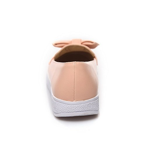 AgooLar Femme Pu Cuir à Talon Bas Tire Couleur Unie Chaussures Légeres Rose
