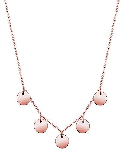 Elli Damen Halskette Geo Kreis Plättchen Minimal 925 Sterling Silber Rose 0108380317_45 (Geo-kreis)