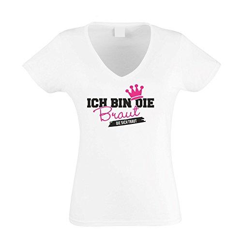 Damen T-Shirt mit V-Ausschnitt zum JGA - Ich Bin die Braut die Sich traut, Weiss-Fuchsia, XL