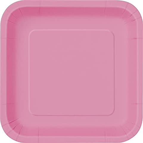 23cm Square Hot Pink Party Plates, Pack of 14