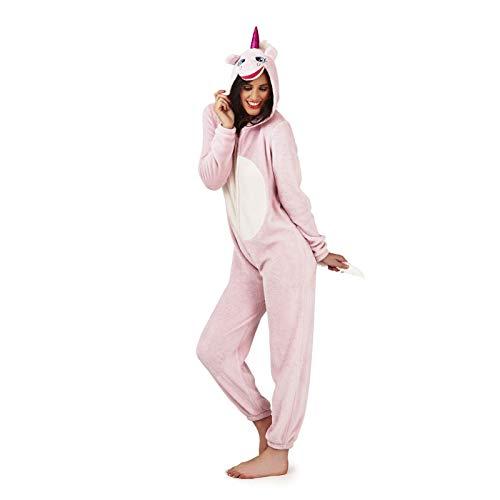Unbekannt Damen Pyjama aus weichem Fleece, Tiermotiv Gr. Medium-40-42, Rosa, Einhorn (Creme Mädchen Kostüm)