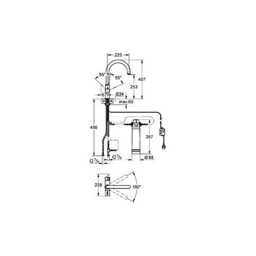 GROHE Blue Pure Küchenarmatur mit Filterfunktion, C-Auslauf 33249001 -