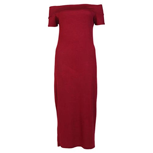 Fashion 4 Less - Robe - Manches Courtes - Femme Rouge - Bordeaux