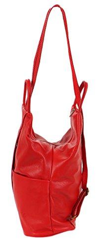 malito Damen Rucksack aus Leder | Shopper im eleganten Look | Tasche mit Reißverschluss | Handtasche T500 Rot