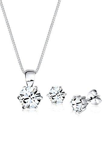 Elli Damen Schmuck Schmuckset Halskette + Ohrringe Basic Glamourös Silber 925 Swarovski® Kristalle Länge 45 cm