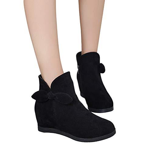 Stiefel Damen Boots Frauen Keile Schuhe Wildleder Bogen Runde Kappe Schuhe Reißverschluss Martin Stiefel Freizeitschuhe ABsoar