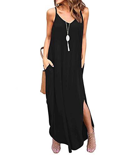 TUDOU Damen Kleid Lässig Spaghetti Strap V-Ausschnitt Split Maxi Kleid Sommer Strand Vertuschen Lange Cami T Shirt Kleider mit Tasche (M, Schwarz) - Kleid Lang Für Den Sommer